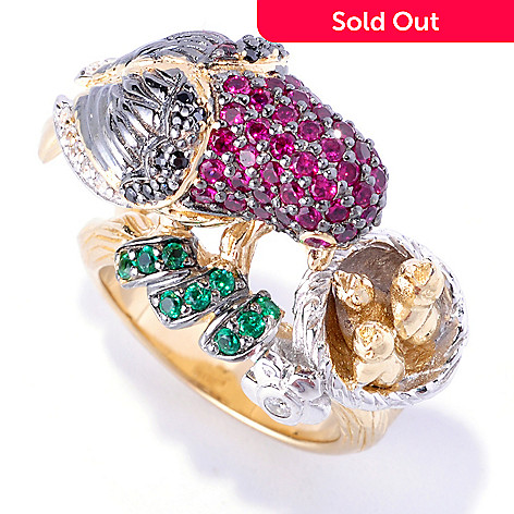 128-410 - Neda Behnam Tri-color 1.43 DEW Pave Round Cut Simulated Gemstone Bird & Nest Ring