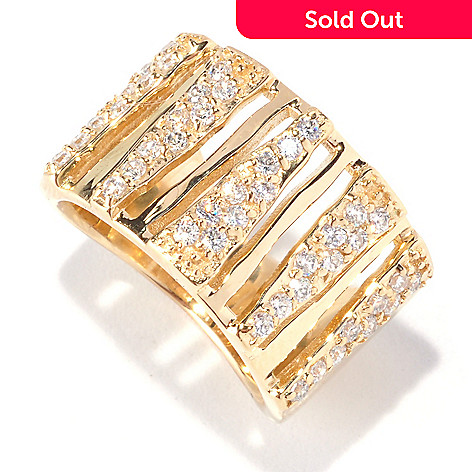 128-413 - Neda Behnam Gold Embraced™ White Zebra Print Simulated Diamond Cut-out Band Ring