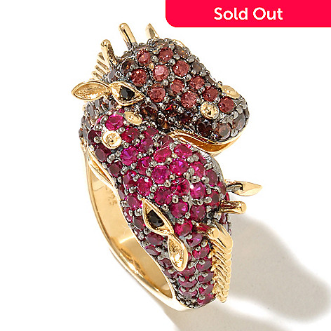 128-414 - Neda Behnam 18K Gold Embraced™ 2.94 DEW Simulated Diamond Giraffe Bypass Ring