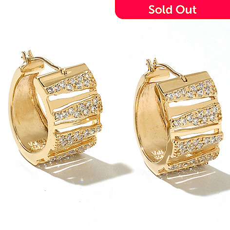 128-415 - Neda Behnam Gold Embraced™ Simulated Diamond Zebra Striped Hoop Earrings