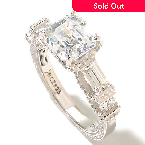 128-426 - Brilliante® Platinum Embraced™ 3.12 DEW Asscher & Baguette Simulated Diamond Milgrain Ring