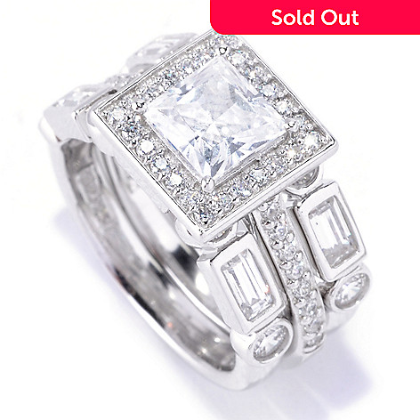128-427 - Brilliante® Platinum Embraced™ 2.88 DEW Princess Simulated Diamond Halo 3-Ring Set
