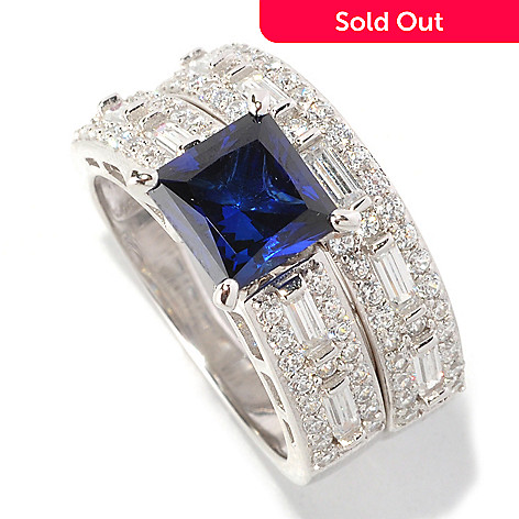 128-429 - Brilliante® Platinum Embraced™ 3.25 DEW Blue Princess Simulated Diamond Two-Piece Ring Set