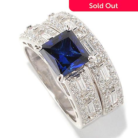 128-429 - Brilliante® Platinum Embraced™ 3.25 DEW Blue Princess Simulated Diamond Two-Piece Ring Set