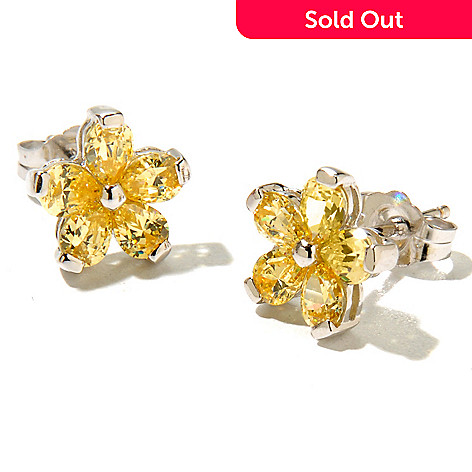 128-432 - Brilliante® Platinum Embraced™ 1.60 DEW Pear Cut Flower Stud Earrings