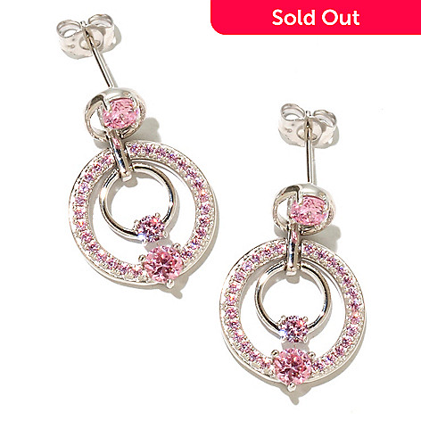 128-433 - Brilliante® Platinum Embraced™ 1.74 DEW Round Cut Pink Double Circle Drop Earrings