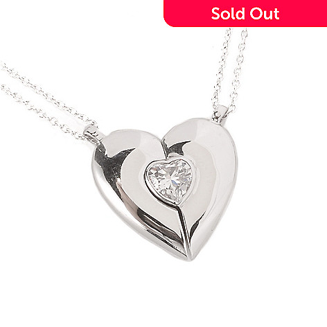 128-434 - Brilliante® Platinum Embraced™ Simulated Diamond Heart Shaped Magnetic Pendant w/ Chain