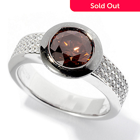 128-437 - Brilliante® 1.76 DEW Two-tone Round Cut Mocha & White Simulated Diamond Bezel Ring
