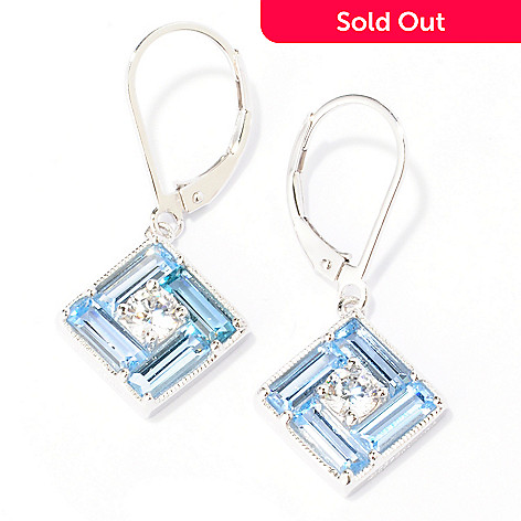 128-442 - Brilliante® Platinum Embraced™ 3.70 DEW Blue & White Square Drop Earrings