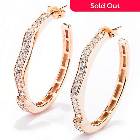 128-444 - Sonia Bitton 1.26 DEW Geometric Zigzag Simulated Diamond Hoop Earrings