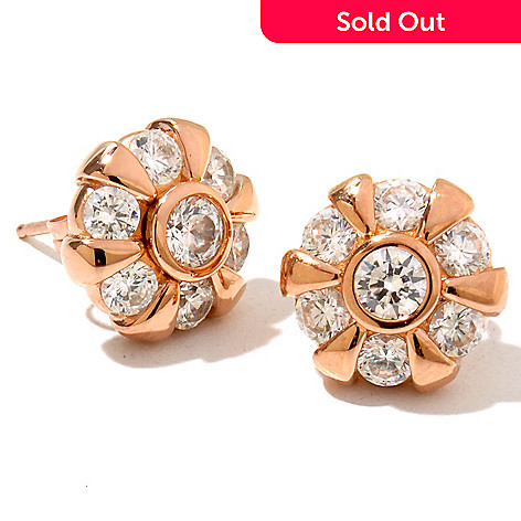 128-446 - Sonia Bitton 2.18 DEW Bezel Set Round Simulated Diamond Flower Stud Earrings