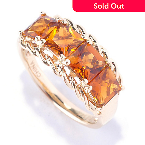 128-456 - Gem Treasures 14K Gold 2.00ctw Princess Cut Honey Tourmaline Four-Stone Ring