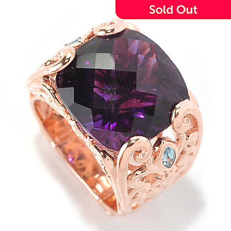128-460 - Dallas Prince 10.59ctw Cushion Shaped Amethyst & Swiss Blue Topaz Ring