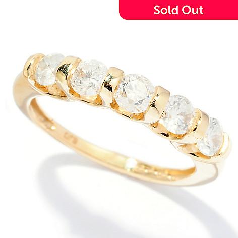 128-471 - Diamond Treasures® 14K Gold 1.00ctw Five-Stone Diamond Band Ring