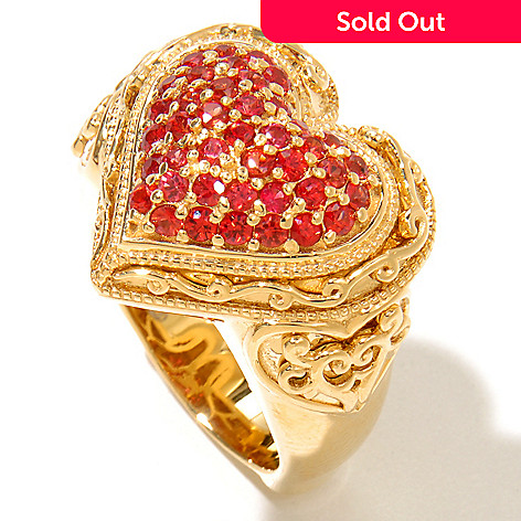 128-477 - Dallas Prince 1.23ctw Orange Sapphire Heart Shaped Ring