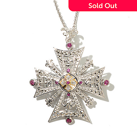 128-480 - Dallas Prince 1.00ctw Rhodolite & Multi Gemstone Maltese Cross Pin-Pendant w/ Chain