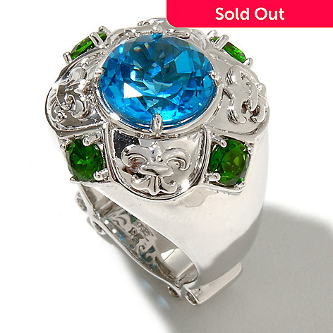 128-481 - Dallas Prince Sterling Silver 5.77ctw Chrome Diopside & Blue Topaz Ring
