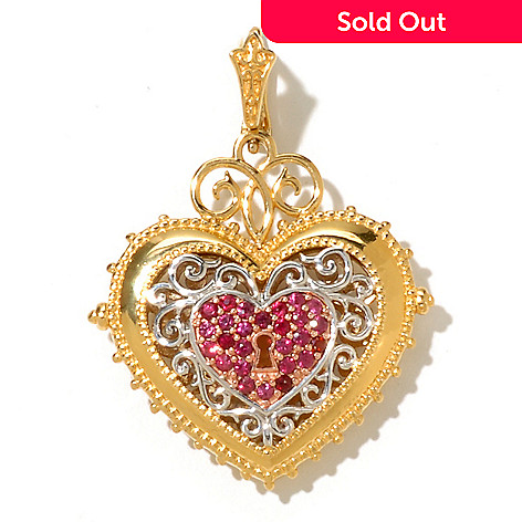 128-484 - Dallas Prince 1.04ctw Raspberry Sapphire Reversible Heart Shaped Enhancer Pendant