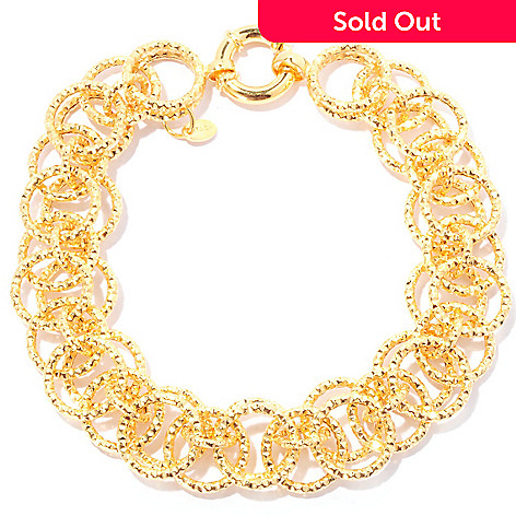 128-485 - Scintilloro™ Gold Embraced™ 8.5'' Diamond Cut Layered Circle Link Bracelet