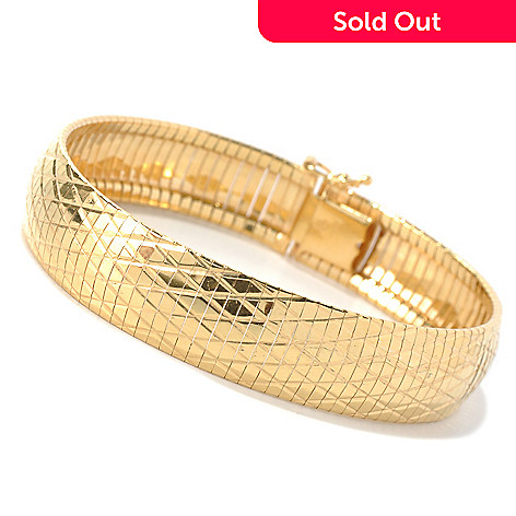 128-487 - Scintilloro™ Gold Embraced™ 7.5'' Textured ''Cleopatra'' Bracelet