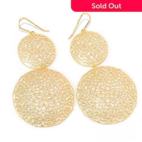 128-488 - Scintilloro™ Gold Embraced™ Floral Filigreed Double Medallion Drop Earrings