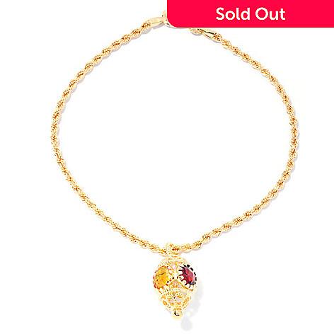 128-493 - Viale18K® Italian Gold 3.58ctw Multi Gem Lantern Charm Rope Bracelet