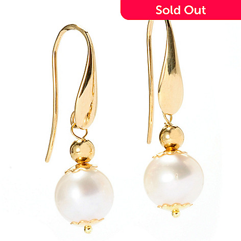 128-495 - Viale18K® Italian Gold 9mm Cultured Freshwater Pearl Drop Earrings