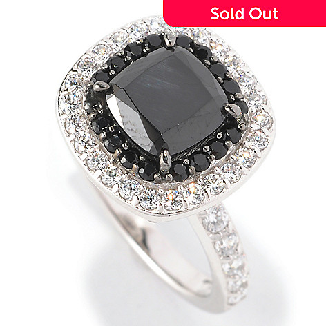 128-504 - Dare to Rare™ Platinum Embraced™ 3.01 DEW Black & White Simulated Diamond Halo Ring