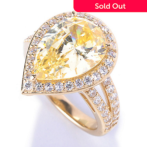 128-506 - Dare to Rare™ by Lucy Gold Embraced™ 6.24 DEW Simulated Diamond Pear Cut Halo Ring