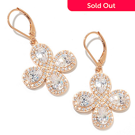 128-510 - Dare to Rare™ by Lucy Rose Gold Embraced™ 1.5'' 7.04 DEW Simulated Diamond Halo Earrings