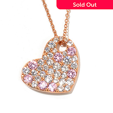128-514 - Dare to Rare™ by Lucy Gold Embraced™ 4.58 DEW Simulated Diamond Heart Pendant w/ Chain