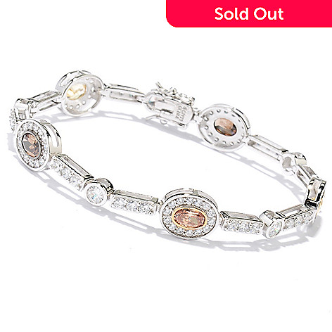128-520 - Dare to Rare™ Platinum Embraced™ Oval Halo Station Simulated Diamond Line Bracelet
