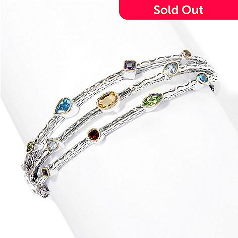 128-524 - Sterling Artistry by EFFY 7'' Scattered Multi Gemstone Bangle Bracelet