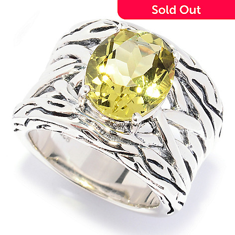 128-527 - Sterling Artistry by EFFY 4.00ctw Lemon Quartz Textured Ring