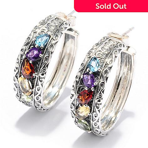 128-530 - Sterling Artistry by EFFY 2.04ctw Multi Gemstone Hoop Earrings