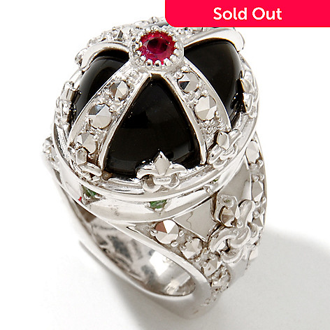 128-572 - Dallas Prince Sterling Silver Onyx Crown Ring Made w/ Swarovski® Marcasite