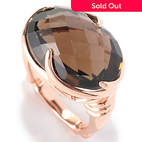 128-581 - Dallas Prince 15.91ctw Oval Smoky Quartz Ring