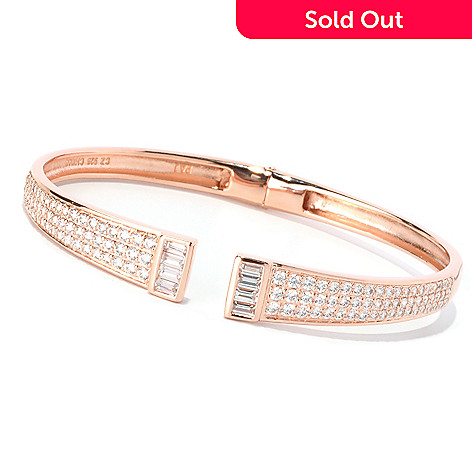 128-586 - Charlie Lapson for Brilliante® 2.69 DEW Pave Set Hinged Cuff Bangle Bracelet