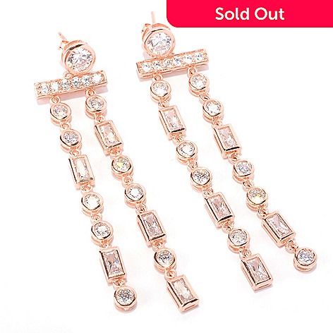 128-587 - Sonia Bitton 5.06 DEW Bezel Set Simulated Diamond Two-Strand Drop Earrings
