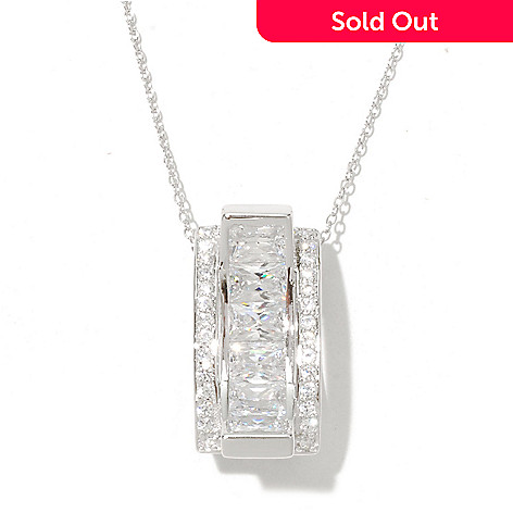 128-588 - Charlie Lapson® 4.17 DEW Emerald Cut Simulated Diamond Convave Pendant