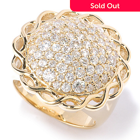 128-591 - Sonia Bitton 1.70 DEW Round Cut Pave Intertwined Simulated Diamond Border Ring