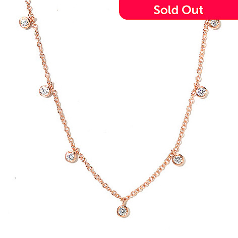128-592 - Sonia Bitton 18'' 1.50 DEW Simulated Diamond Round Dangle Station Necklace