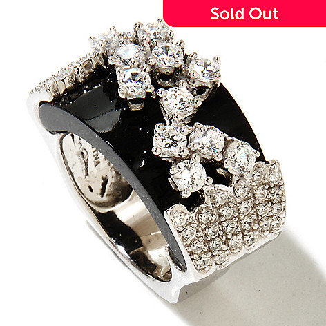 128-594 - Sonia Bitton Platinum Embraced™ 1.58 DEW Round Cut Simulated Diamond East-West Ring