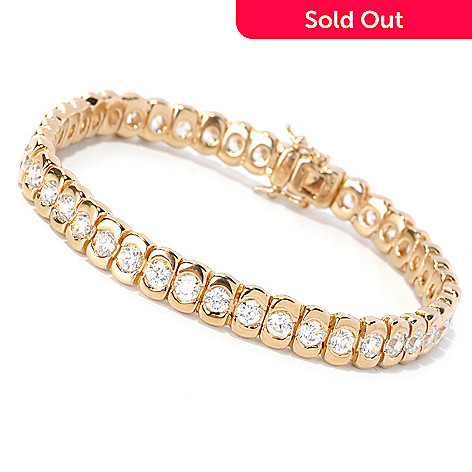 128-595 - Sonia Bitton Round Cut Bezel Set Simulated Diamond Tennis Bracelet