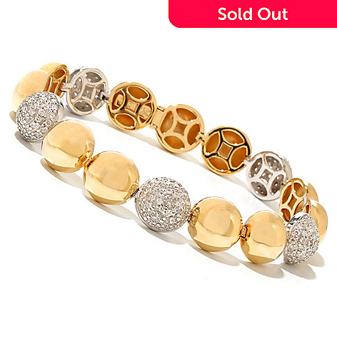 128-596 - Sonia Bitton Two-tone 2.50 DEW Round Pave Set Simulated Diamond Dome Line Bracelet