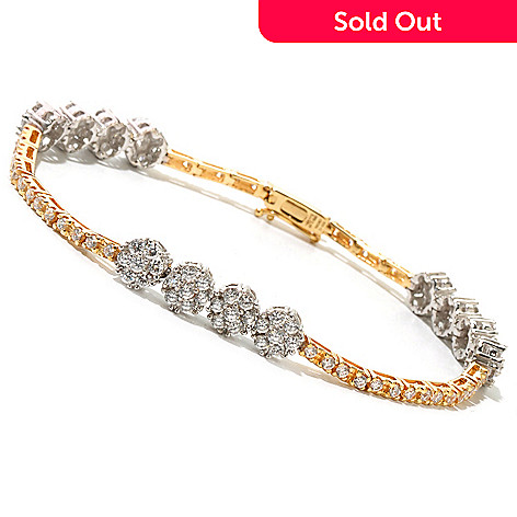 128-597 - Sonia Bitton Two-tone Simulated Diamond Flower Cluster Line Bracelet