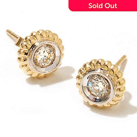 128-600 - Beverly Hills Elegance® 14K Gold 0.36ctw Round Diamond Stud Earrings