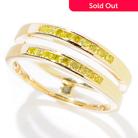 128-601 - Beverly Hills Elegance 14K Gold 0.23ctw Canary Yellow Diamond Guard Ring