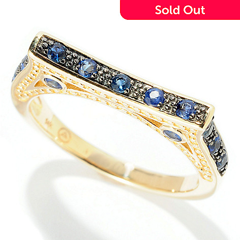 128-605 - Beverly Hills Elegance® 14K Gold 0.40ctw Blue Sapphire Flat Design Ring