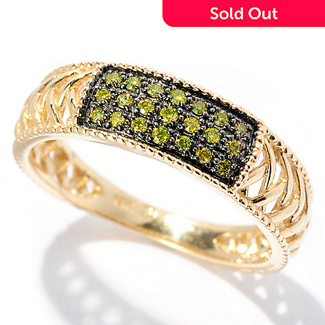 128-606 - Beverly Hills Elegance 14K Gold 0.13ctw Yellow Diamond Lattice Band Ring